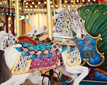 Vintage Carousel Photograph Print, Beach Carousel, Summer, White Horse, Nursery Photography Decor, Retro Summer Fun, Boardwalk Carousel