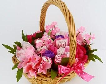 Flower Gift Basket - New Mom Gift - Gift Basket - Congratulations - Hospital Gift - Baby Shower Gift - Gift for Newborn - It's a Girl