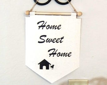 HOME SWEET HOME mini wall banner, Welcome Penneant, Flag, Apartment, Modern home decor, Wall hanging, House decor.