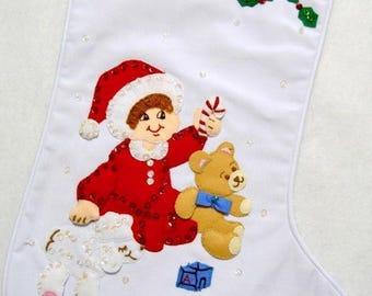 Bucilla felt baby's first Christmas stocking~black hair, blue eyes~ready to hang