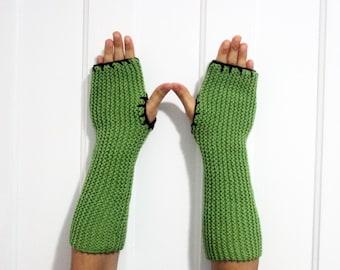 Long Fingerless Gloves / Armwarmers [Green & Brown]