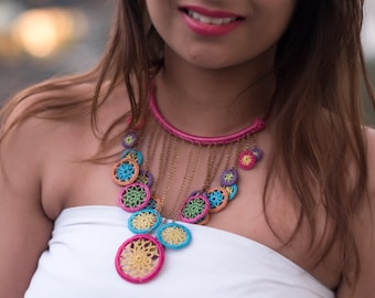Samoolam Handmade Crochet Dreamcatcher Rain Drop Necklace for Women and Girls