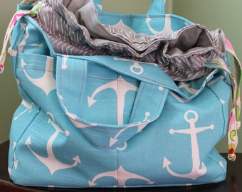Multi Pocket Large Drawstring Project Bag for Knitting Crochet Arts and Crafts Ready to Ship Unique Gift Bag in a Bag Watermelon Wishes Tote