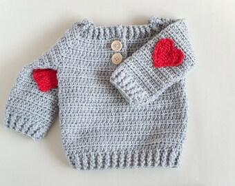 CROCHET PATTERN - Crochet Baby Sweater Red Heart - Baby Pullover - PDF