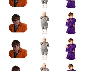12 x Austin Powers Edible Stand Up Wafer Cake Cupcake Toppers