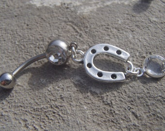 Horseshoe Swarovksi Crystal Belly Ring Inspired by the Tear Asunder Series by Nashoda Rose