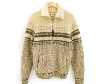 Sale | Vintage Cowichan Sweater | Chunky knit Wool Cardigan in Beige and Brown | Medium Large 70s, 1970s Fisherman Nordic Unisex Jacket Vest