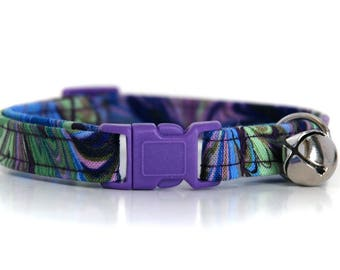 Monet,,Purple, Blue and Olive Cat Collar,