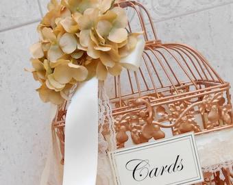 Copper Rose & Cream Wedding Birdcage Card Holder | Wedding Card Box | Rose Gold Copper Wedding Decor | Bird Cage Card Holder | Wedding Decor