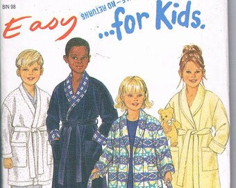 New Look 6821/Toddler or Child/ Size 3-8/Long or Short Bathrobe/Factory Folded/Uncut