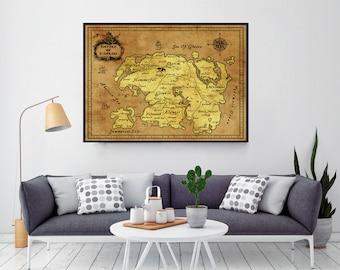 Skyrim, Skyrim Map, Gamer Gifts, Gift For Him, Gift For Boyfriend, Elder Scrolls, Tamriel Map, Morrowind, Oblivion Map, Dragonborn