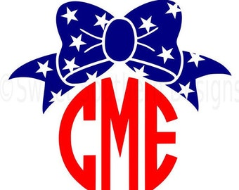 Monogram bow with stars fourth of July Memorial day SVG instant download design for cricut or silhouette