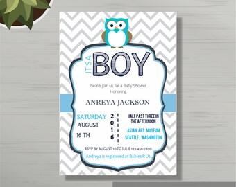 Chevron Baby Boy Shower Invite Template For Word Chevron - Baby invitation template