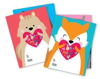 Woodland Valentines Day Cards / printable DIY card / classroom Valentine for kids / Instant Download Valentine Cards