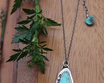 Turquoise butterfly wing sterling silver necklace - Kingman turquoise, oxidized, nature inspired