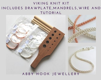 Viking Knit chain Kit - includes Drawplate, mandrels, wire and tutorial - Wire jewelry chain kit