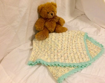 Bitsy Blanket - Cream and Blue Baby Blanket DISCOUNT PRICE