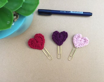Crochet Heart Paper Clip. Fancy Clips . Bible Journaling Clips . Planner Clips . Bullet Journal Clips . Bookmarks. Page Markers. Applique