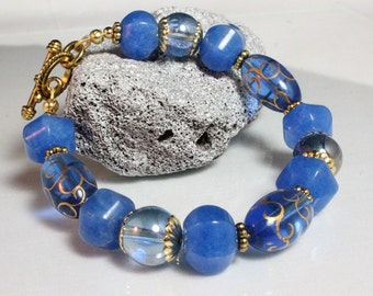 Royal Blue Gypsy Glass and Blue Jade Bracelet