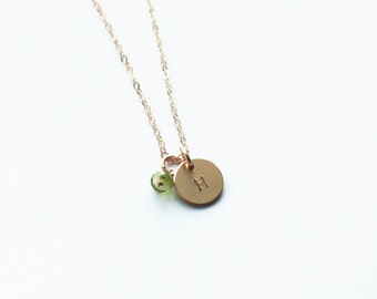 Mom Gift, Initial Necklace, Personalized Necklace, Birthstone Jewelry, Silver, Gold Necklace, Charm Necklace, Gift for Her, Birthday Gift