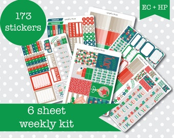 WRAP IT UP Retro festive Planner stickers Weekly Kit Vertical layout 6 Sheets