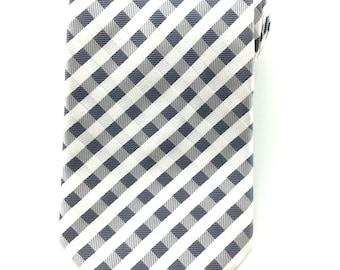 Mens Necktie White Grey Gingham Necktie 8.5cm. Checkered  Necktie. Grey Wedding Tie. Groomsmen Neck Tie. Formal Necktie. Business Tie