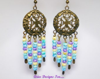 Antique Bronze Medallion Chandelier Earrings ,Beaded Gypsy Earrings,Bohemian Chandelier Earrings Violet, Blue, Yellow and Green