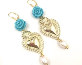 Ex voto earrings. Baroque earrings. Sacred heart earrings. READY TO SHIP