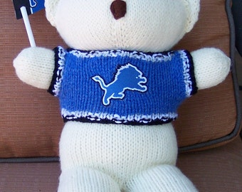 Bear, Detroit Lions, Baby Boy Bear, Baby Shower Gift, Christmas Gift, Birthday Gift, Keepsake Bear, Souvenir Bear, Father's Day
