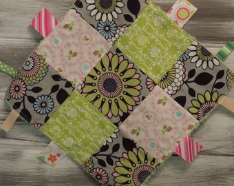 "Baby Ribbon Blanket Tag Lovey ""RIBbee"" Boutique Patchwork Sensory  Toy - Fleece - mod flowers - gray, pink, black, green"
