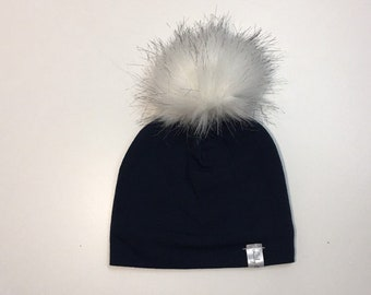 fake fur pompon hat with polar