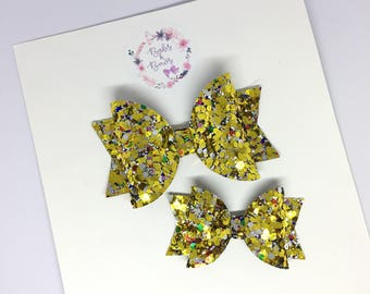 Golden Ticket Glitter Bow Hair Accessory (headband or clip)