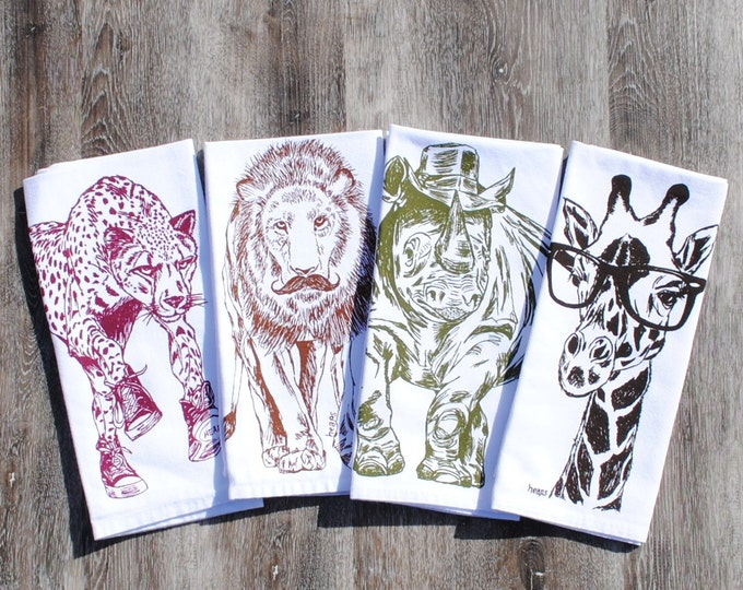 African Cotton Napkins - Screen Printed Napkins Set of 4 - Washable Reusable - Giraffe Rhino Lion Cheetah