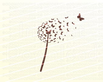 Dandelion Butterfly Illustration Logo Artwork Clip Art for Print your Business Blog or Website - Web Design - Graphic Design