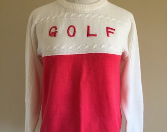 """Vintage 1970s Pink and White Crew Neck """"Golf"""" Sweater"""