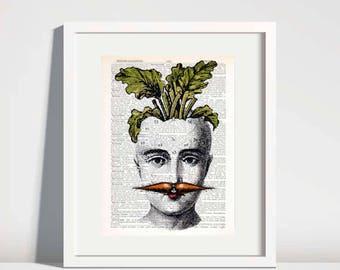 Vegetable Art Prints,dictionary art print,carrot art,kitchen wall art,quirky art,humorous gift for vegan,vegetarian gift,food print no 183