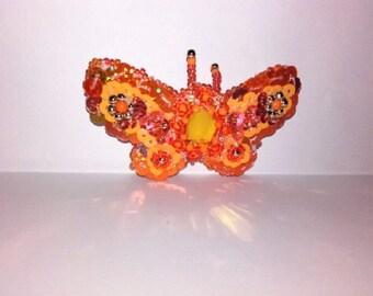 Tangerine dream bead & sequin  butterfly barrette hair clip