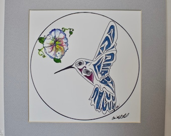 Print of Hummingbird Ovoid design& Morning Glory Matted signed