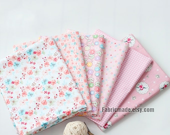 Pink Floral Cotton Fabric, Pastel Pink Flower Cotton, Shabby Chic Fabric-  1/2 Yard