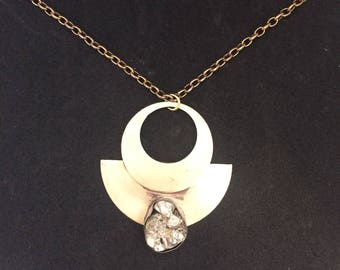 Athena Pyrite Brass and Sterling Silver Art Deco Statement Necklace with Brass Chain
