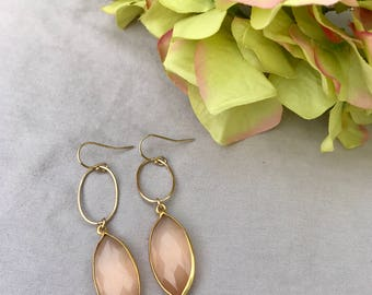 Peach Tear Drop Earrings