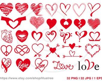 32 red hearts digital clipart set, wedding clip art, cardmaking, scrapbooking, logo design, commercial use, PNG, EPS, SVG, instant download