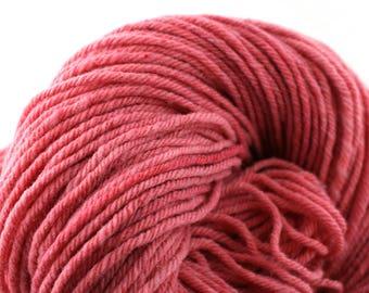 Hand Dyed Aran weight mini Empire Rambouillet Wool 213 yds 4oz Petal