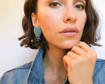 Beaded blue earrings, gemstones and glass beads.statement jewelry, hamdmade earrings inspired by jellyfish