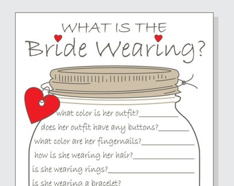 What Is The Bride Wearing Printable Cards