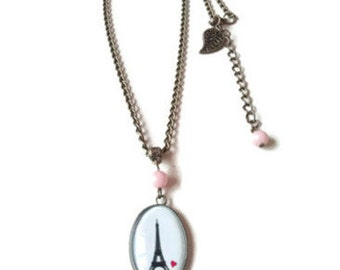 Paris necklace and pink Jade beads
