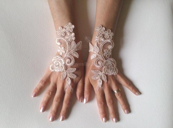 Wedding gloves  Champagne  bridal gloves  fingerless lace  gloves french lace gloves  free ship 247