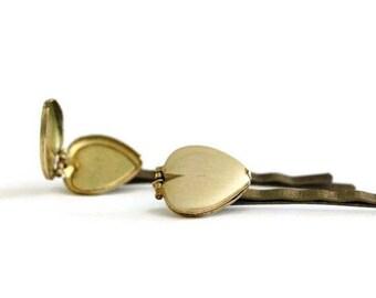 Heart Locket Bobby Pin Set of 2