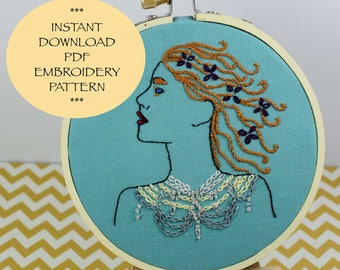 Create-A Goddess  Embroidery  Pattern | Instant Digital Download | Instant Download | Digital Download |  Printable Embroidery Pattern