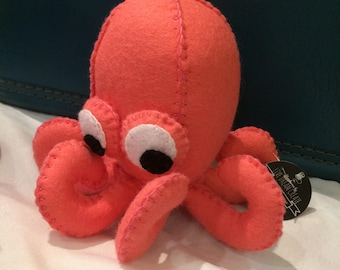 ON SALE Coral the Octopus - Limited Edition - Handsewn Wool-blend Felt Plushie - Collectible - Spring 2017